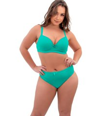 conjunto lingerie sigh plus size reforçado verde claro