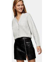gray marl pointelle knitted cardigan - grey marl