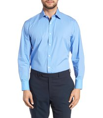 men's english laundry regular fit stretch solid dress shirt, size 17.5 - 32/33 - blue