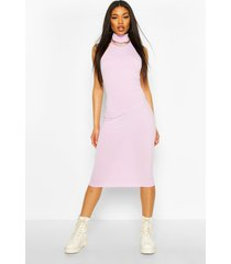 jumbo rib high neck racer midi dress, lilac