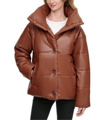dkny faux-leather puffer coat