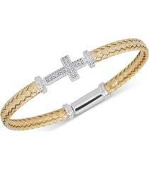 diamond east-west cross braided mesh bangle bracelet (1/5 ct. t.w.) in sterling silver & 14k gold-plate