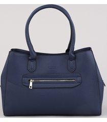bolsa de ombro feminina média com bolso azul marinho