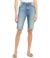 women's 7 for all mankind high waist cutouff denim bermuda shorts, size 28 - blue