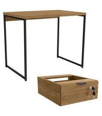 mesa escrivaninha kappesberg 91cm + gaveteiro 1 gaveta crome freijó/preto