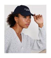 "boné feminino mindset aba curva com bordado change your mindset"" azul escuro"""