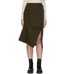 slit twisted melton wool skirt