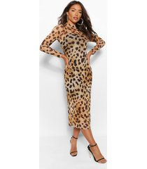 leopard mesh midaxi dress, brown