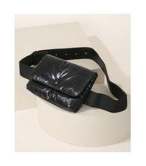 pochete de nylon feminina metalizada preta