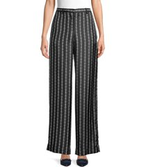 theory women's chain-print silk pants - black multi - size 2
