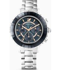 orologio octea lux chrono, bracciale di metallo, nero, acciaio inossidabile