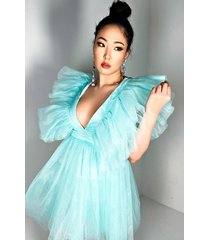 akira nothing like me deep v tulle mini dress