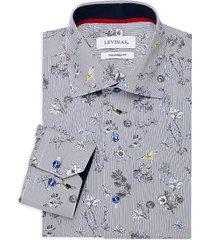 levinas men's tailored-fit striped & floral-print dress shirt - multi floral - size 14.5 33