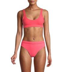 bond-eye women's heatwave rib crochet bikini top - pink - size s