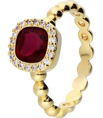anello placcato oro con pietra rossa e zirconi per donna