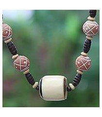 bone and ceramic beaded necklace, 'sougri' (ghana)