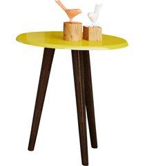 mesa lateral brilhante amarelo móveis bechara
