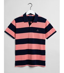 gant poloshirt pique rugger barstripe regular fit roze