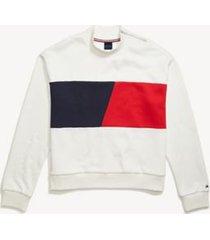 tommy hilfiger women's adaptive flag sweatshirt snow white / multi - l