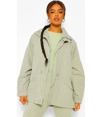 oversized parka jas, sage