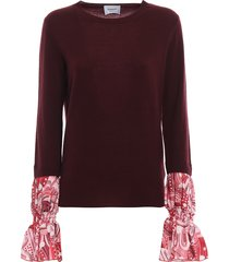 dondup printed cuff merino and cashmere sweater