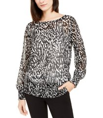 alfani printed smocked-hem top, created for macy's