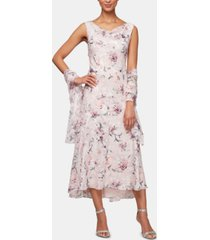 alex evenings floral-print a-line dress & shawl