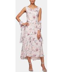 alex evenings floral-print a-line dress & shawl
