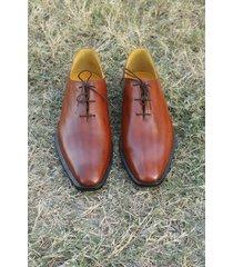 handmade men fashion brown leather shoes, men brown formal dress shoes