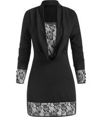 cowl neck lace panel long sleeve longline top