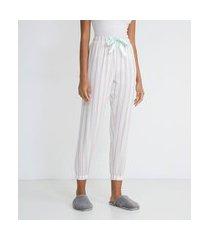 calça de pijama em flanela listrada | lov | rosa | g