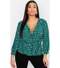 plus turquoise leopard wrap smock top, turquoise