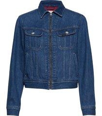zip cropped rider jeansjack denimjack blauw lee jeans
