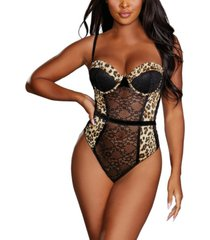 dreamgirl women's satin charmeuse cheetah-print teddy