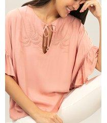 blusa babados e bordado rosa wan - lez a lez