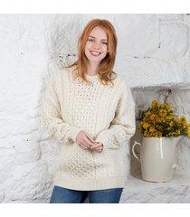women's traditional merino wool aran sweater cream large