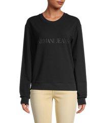 armani jeans women's logo dropped-shoulder sweatshirt - black - size 38 (2)