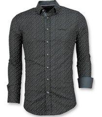 slim fit stretch overhemd - blouse blad motief - 3016