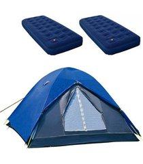 barraca de camping iglu fox nautika + 2 colchões inflável solteiro zenite