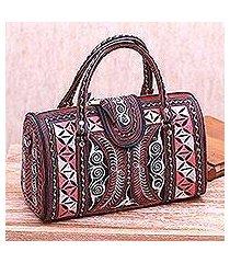 cotton handbag, 'carnation crescents' (11.5 inch) (indonesia)