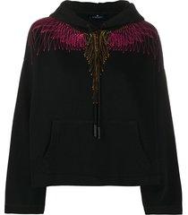marcelo burlon county of milan wings relaxed hoodie - black