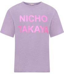 natasha zinko lilac girl t-shirt with neon pink print