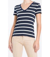 tshirt manga curta decote - azul marinho - m