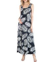 24seven comfort apparel sleeveless botanical print maternity maxi dress with pockets