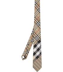 burberry check-print silk tie - neutrals