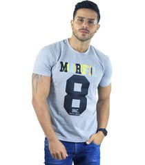 camiseta hombre manga corta slim fit gris marfil america