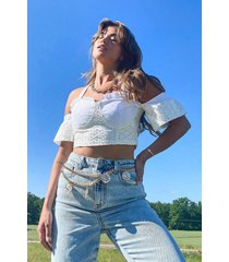 broderie anglais halter crop top, white