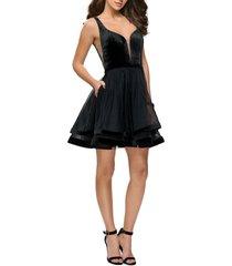 women's la femme velvet & tulle cocktail dress, size 00 - black