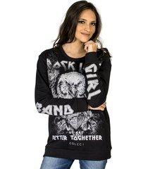 blusão moletom rock love colcci feminino