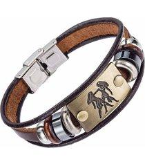 manilla pulsera zodiaco cierre acero cuero xy17018